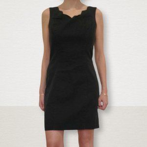 Vintage Little Denim Black Dress Scallop Trim
